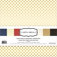 Cartoane Dots and Stripes Collection Gold Foil, 12x12in, Carta Bella