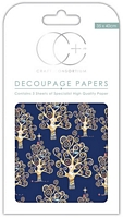 Hartie decoupage Blue Trees, 35x40cm, 3buc, Craft Consortium