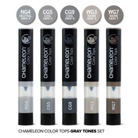Marker Color Tops Grey Tones, set 5 buc, Chameleon