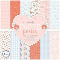 Set cartoane imprimate Posies, 12x12in, Dovecraft