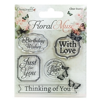 Stampile acrilice Floral Muse, Sentiments, Trimcraft