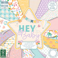Set cartoane imprimate Hey Baby, 8x8in, 48 coli, Trimcraft