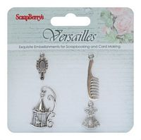 Ornamente metalice, charms set Versailles, 4buc, ScrapBerry