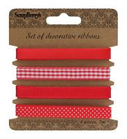 Set panglici textile decorative, 4buc, Red, ScrapBerry